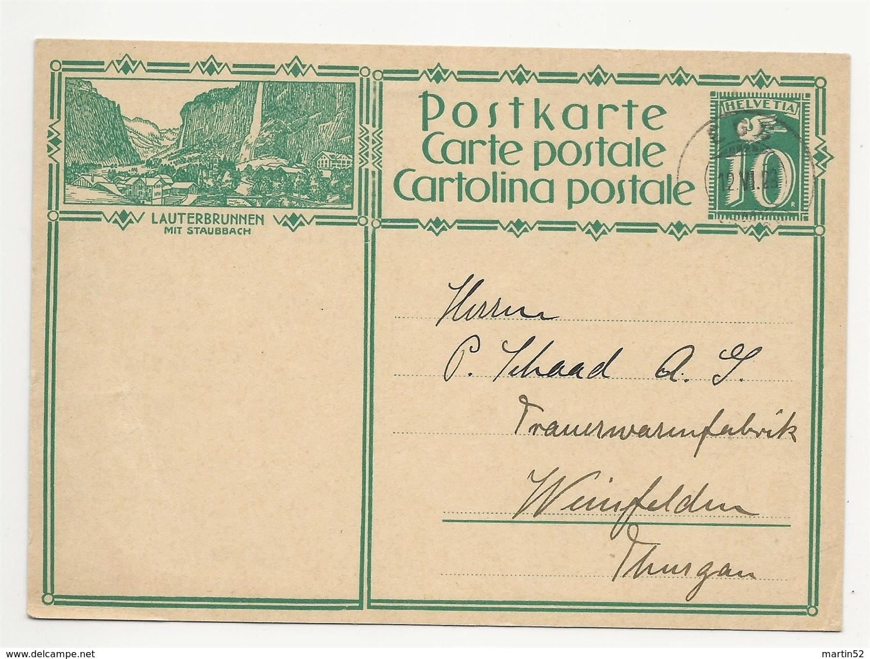 """Schweiz Suisse 1929: Bild-PK CPI """"LAUTERBRUNNEN MIT STAUBBACH"""" Mit Stempel EGG 12.VI.29 (ZÜRICH) Nach Weinfelden - Interi Postali"""