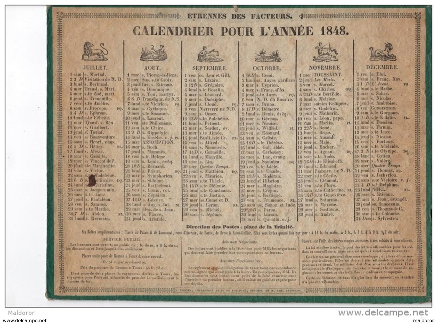 CAL159    CALENDRIER   Almanach  ZODIAQUE   De   1848  Par  .FOLLIGNE  à  RENNES  ETRENNES  DES  FACTEURS - Formato Grande : ...-1900