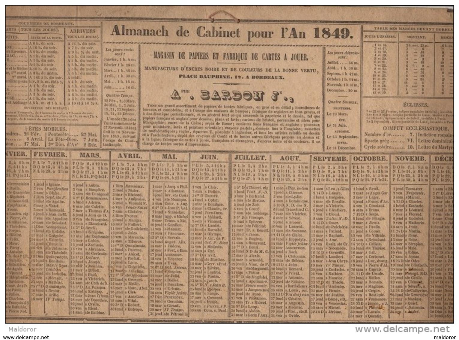 CAL161    CALENDRIER   ALMANACH    De   1849  Par  .BARDON   à  BORDEAUX   .7 Cm De Plus En Longueur  Trés Bon état - Formato Grande : ...-1900