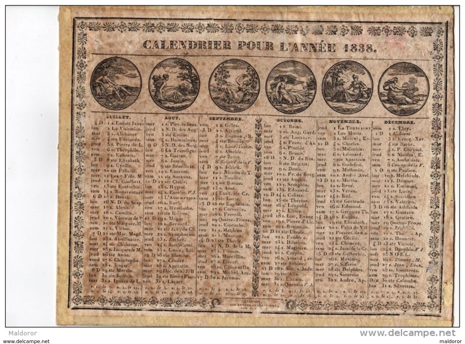 CAL185  .ALMANACH  CALENDRIER   1838    CHAILLOT  à  AVIGNON .LES MOIS  Femmes  . ETAT - Grand Format : ...-1900