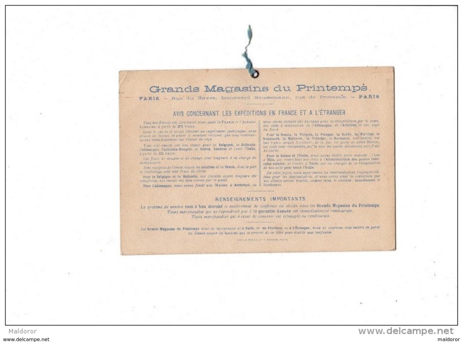 CAL229  .   1877 . AU  PRINTEMPS . TESTU  Et  MASSIN  RARE CALENDRIER  Jules JALUZOT  Paris   Format 18 Cm X 12 - Calendari