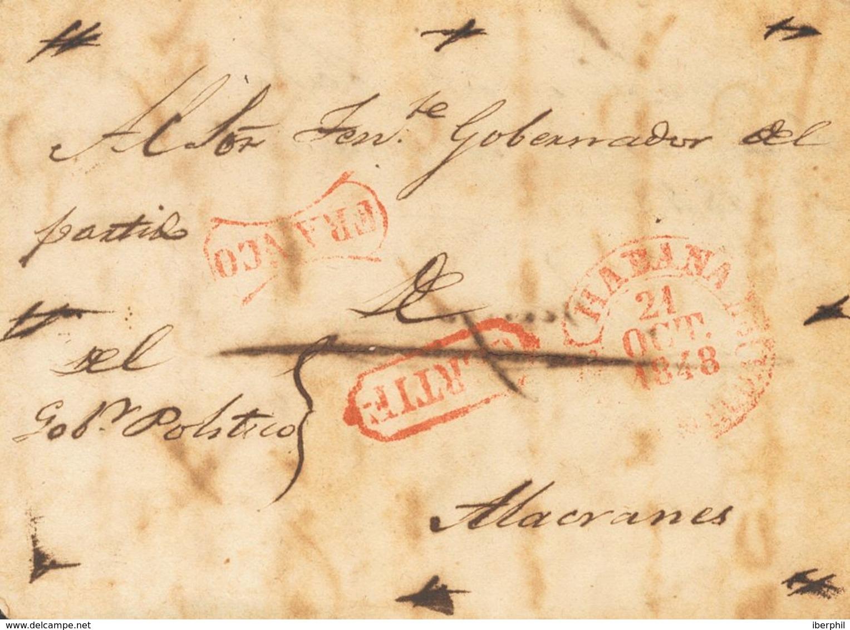 Sobre . 1848. Certificado De LA HABANA A ALACRANES. Marcas FRANCO Y CERTIF, Ambas En Rojo Y De Uso General (P.E.19 Y P.E - Espagne