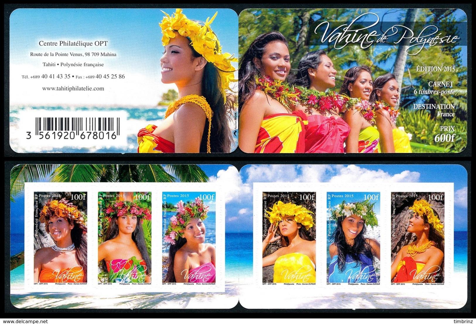 POLYNESIE 2015 - Yv. 1101 à 1106 = Carnet C1101 **  - Vahinées (6 Val.) Autoadhésif  ..Réf.POL24991 - Polynésie Française