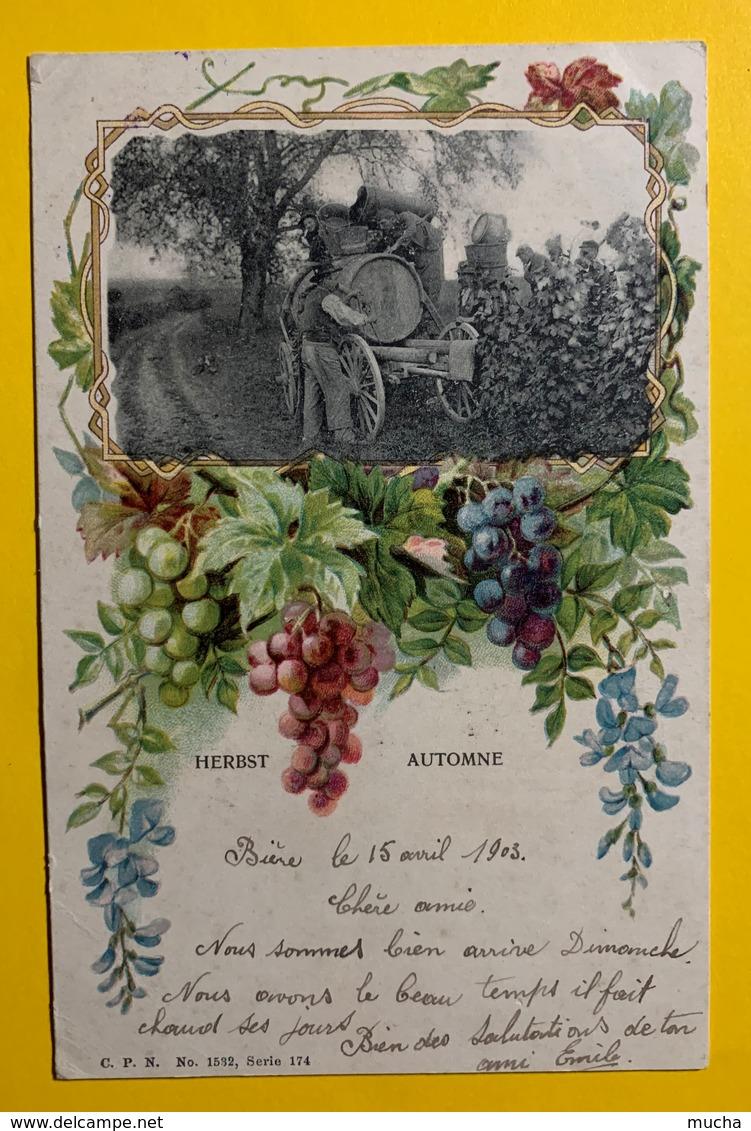 9246 - Rare Les 4 Saisons Scènes Campagnardes Dans Décor Floral Art Nouveau Le Printemps Marché à Genève - Other