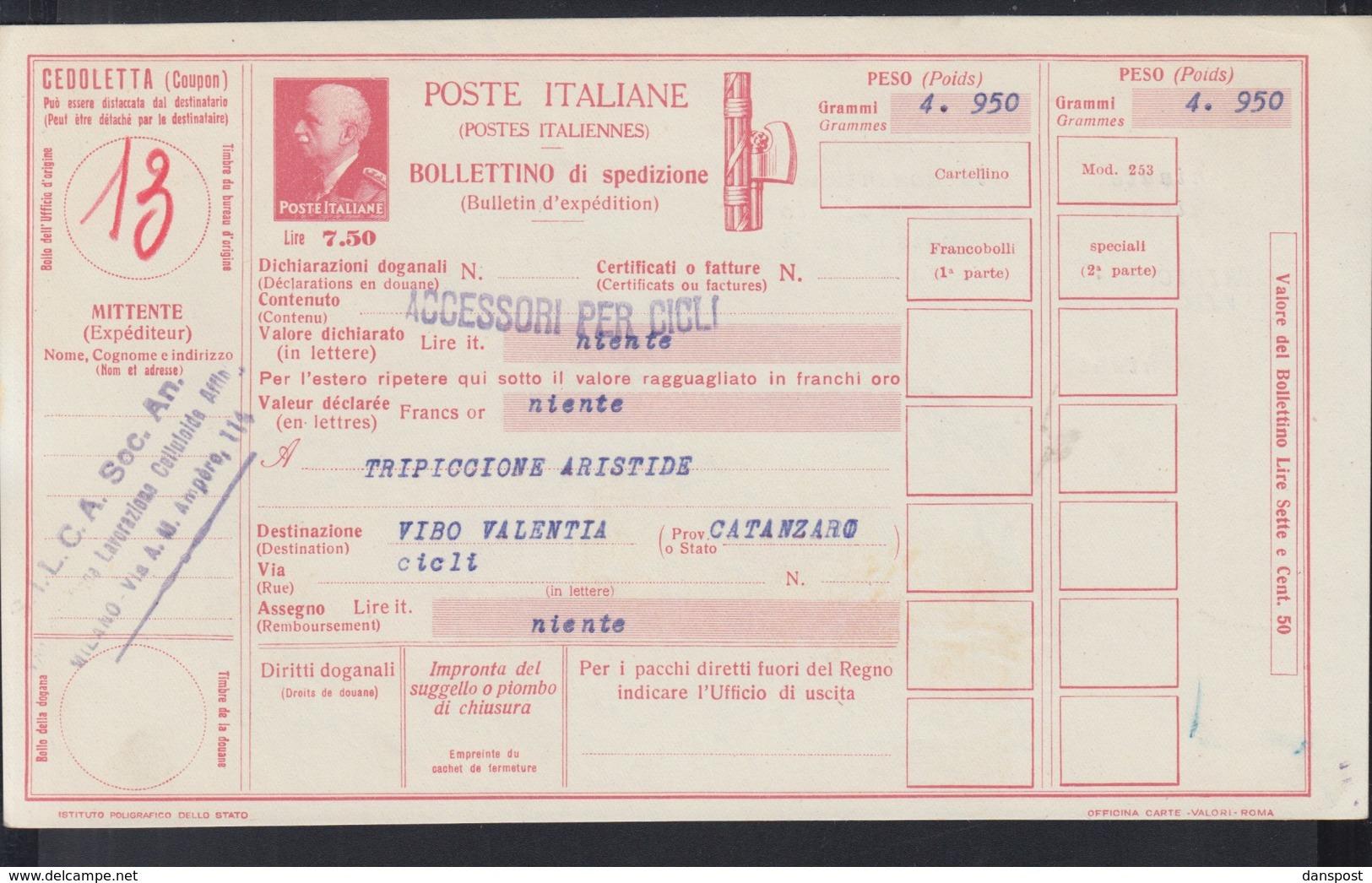 Bollettino Di Spedizione - 1900-44 Victor Emmanuel III