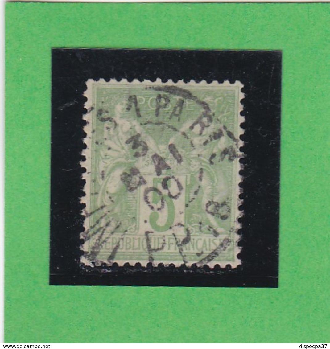 SAGE N° 102  Type III - CACHET A DATE  IMPRIMES PARIS PP18  - 3 MAI 1900- 1602 - Cachet Très Bien Centré - 1898-1900 Sage (Type III)