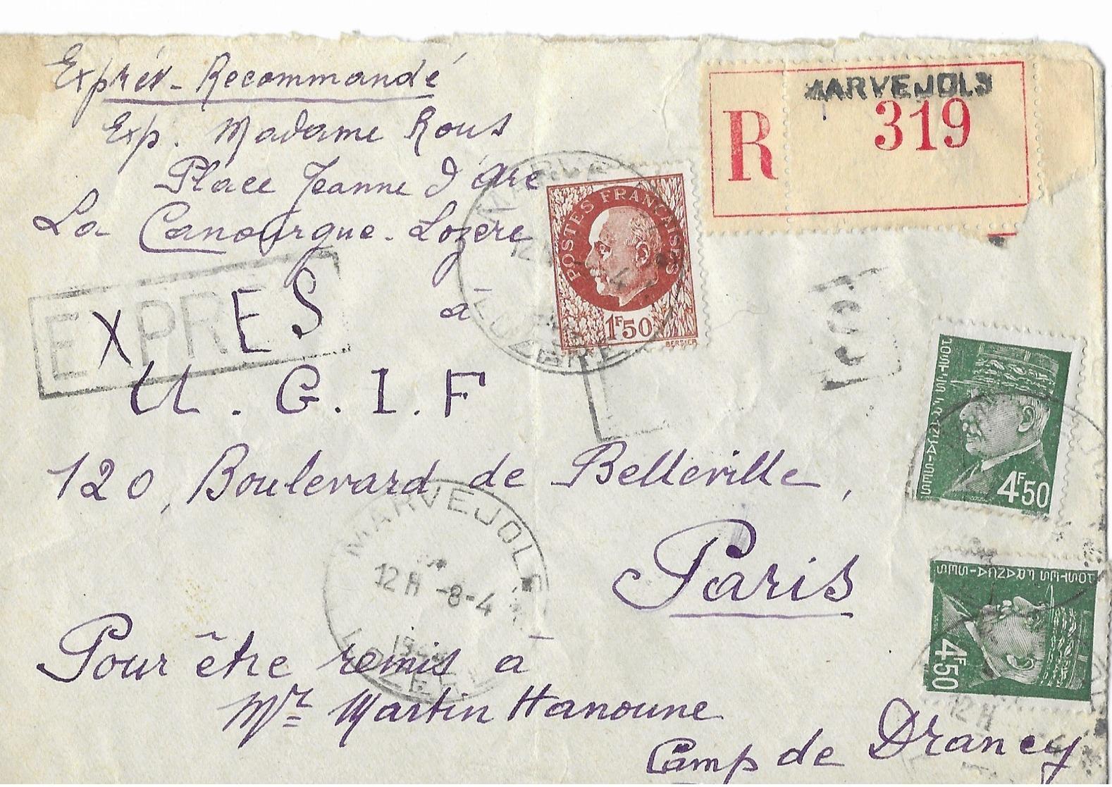 U.g.i.f.    Judaica  Camp De Drancy     Mr Martin Hanoune - Historical Documents