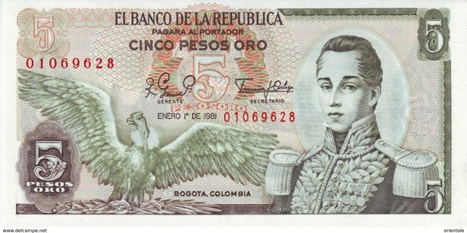 COLOMBIA P. 406f 5 P 1981 UNC - Colombia