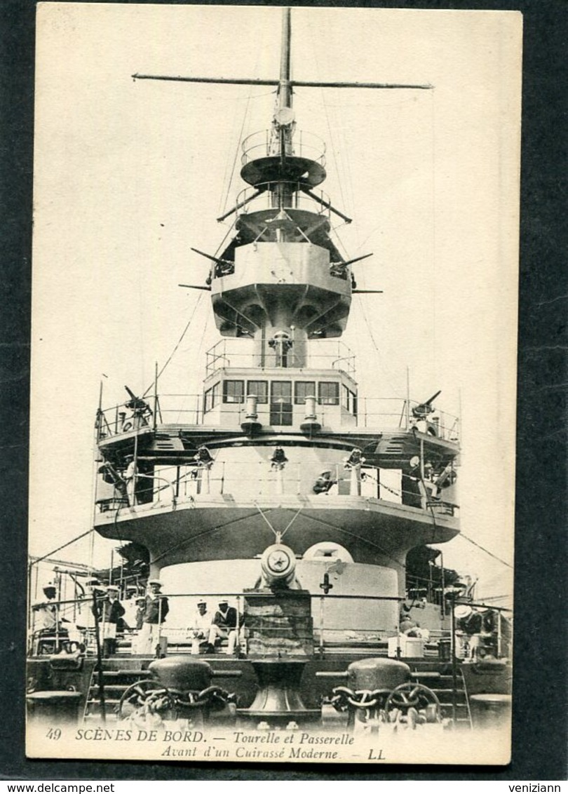 CPA - SCENES DE BORD - Tourelle Et Passerelle Avant D'un Cuirassé Moderne, Animé - Dampfer