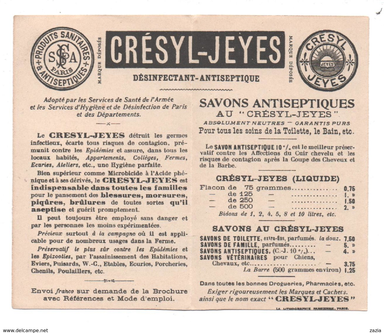 """THD.640 / Chromo Dépliant Publicitaire """"Crésyl Jeyes"""" - Cromo"""