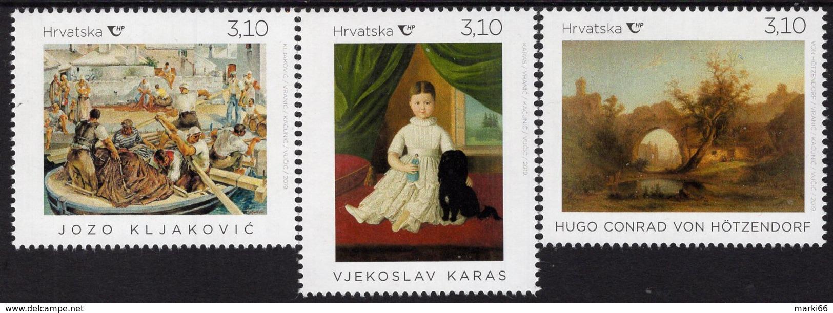 Croatia - 2019 - Fine Art On Stamps - Hoetzendorf, Karas, Kljakovic - Mint Stamp Set - Croatia