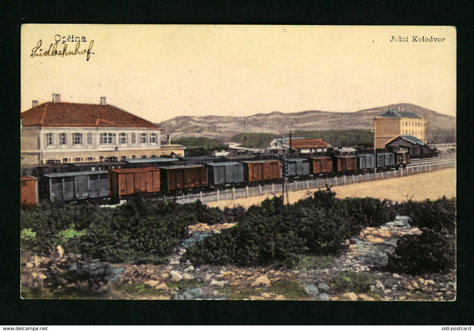 Opcina - Croatia / Bahnhof - Railway Station 1915  VF USED  POSTCARD - Croacia