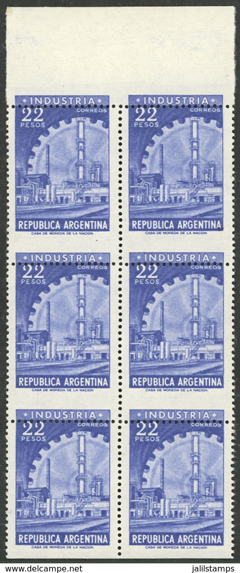 """ARGENTINA: GJ.1146, 22P. Industry In Photogravure (violet-blue), Block Of 6 With Very Shifted Perforation: """"INDUSTRIA"""" A - Argentina"""
