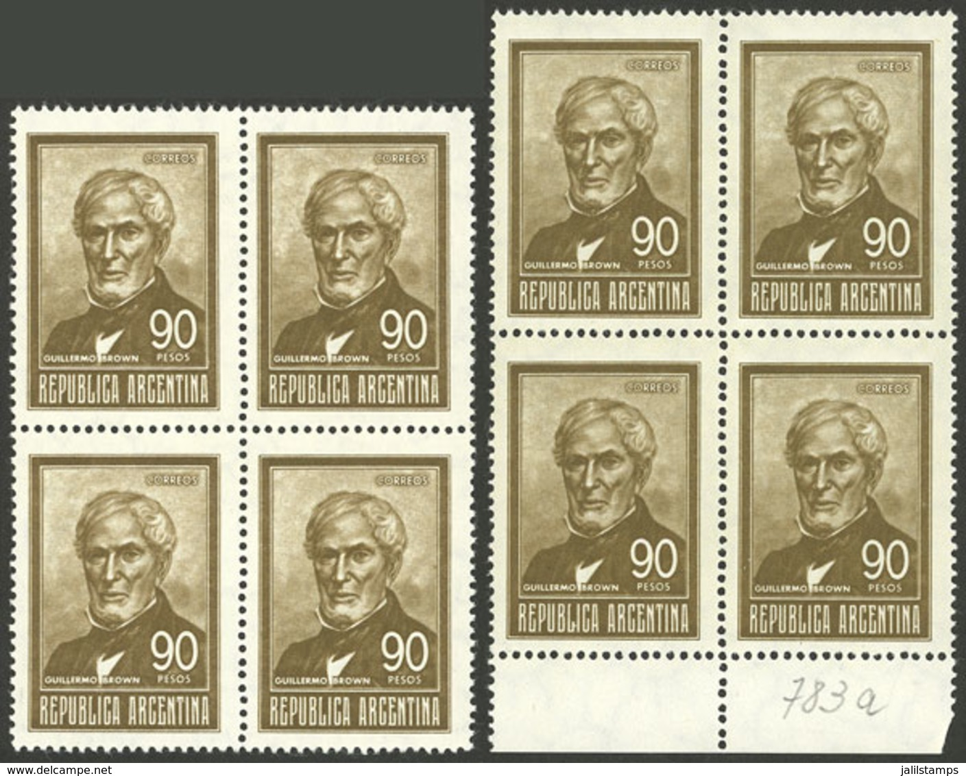 ARGENTINA: GJ.1320A + 1320Aa, 90P. Brown, Blocks Of 4 Printed On SOFT Imported Unsurfaced Paper And HARD Imported Unsurf - Argentina