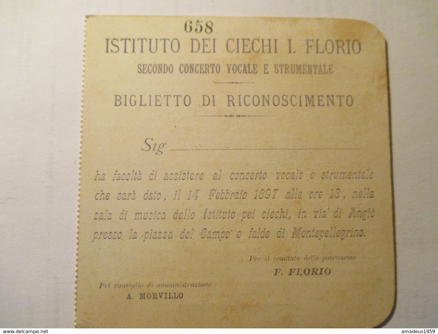 Biglietto Istituto Ciechi Florio 1897 - Tickets - Vouchers