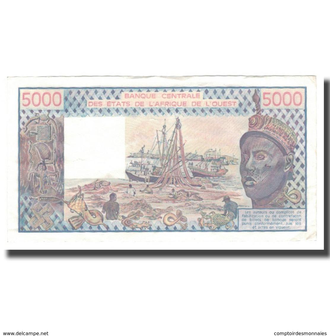 Billet, West African States, 5000 Francs, 1977-1991, 1989, KM:108Ag, TTB - West African States