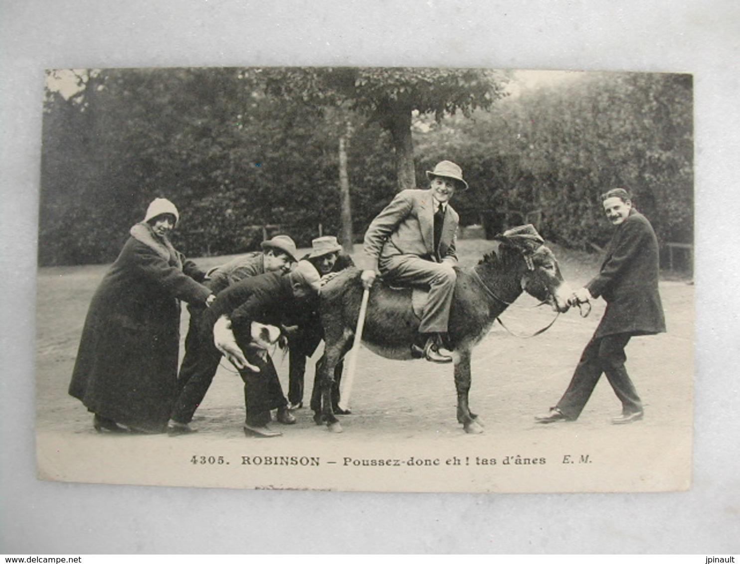 ROBINSON - Poussez Donc Eh ! Tas D'ânes (carte Humoristique Avec Un âne) - Humour