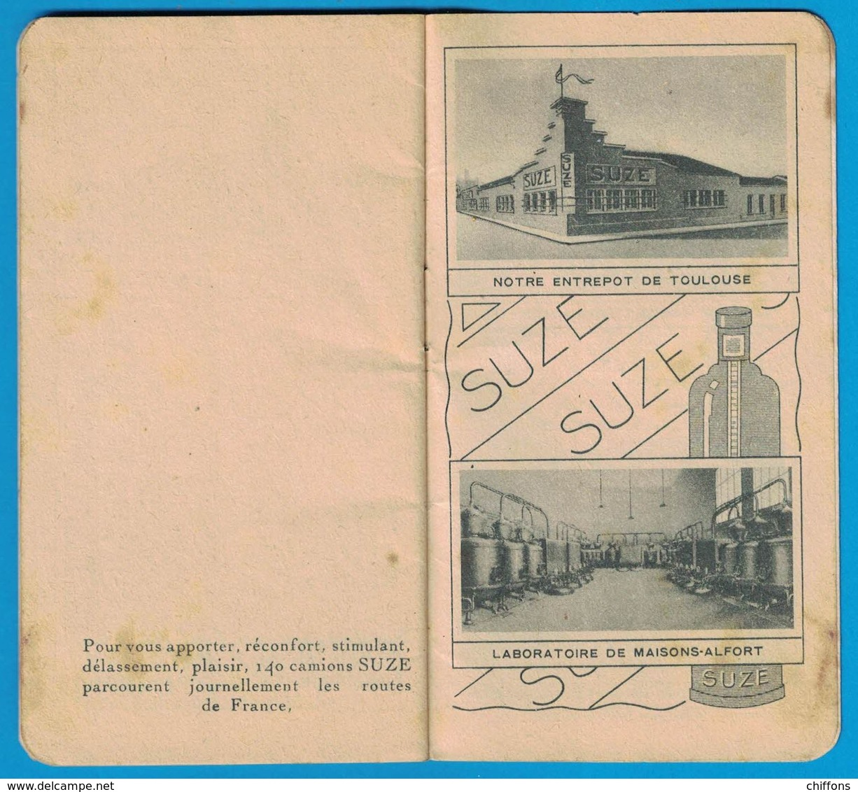 CARNET APERITIF A LA GENTIANE SUZE L'AMIE DE L'ESTOMAC CALENDRIER 1940 - Publicités
