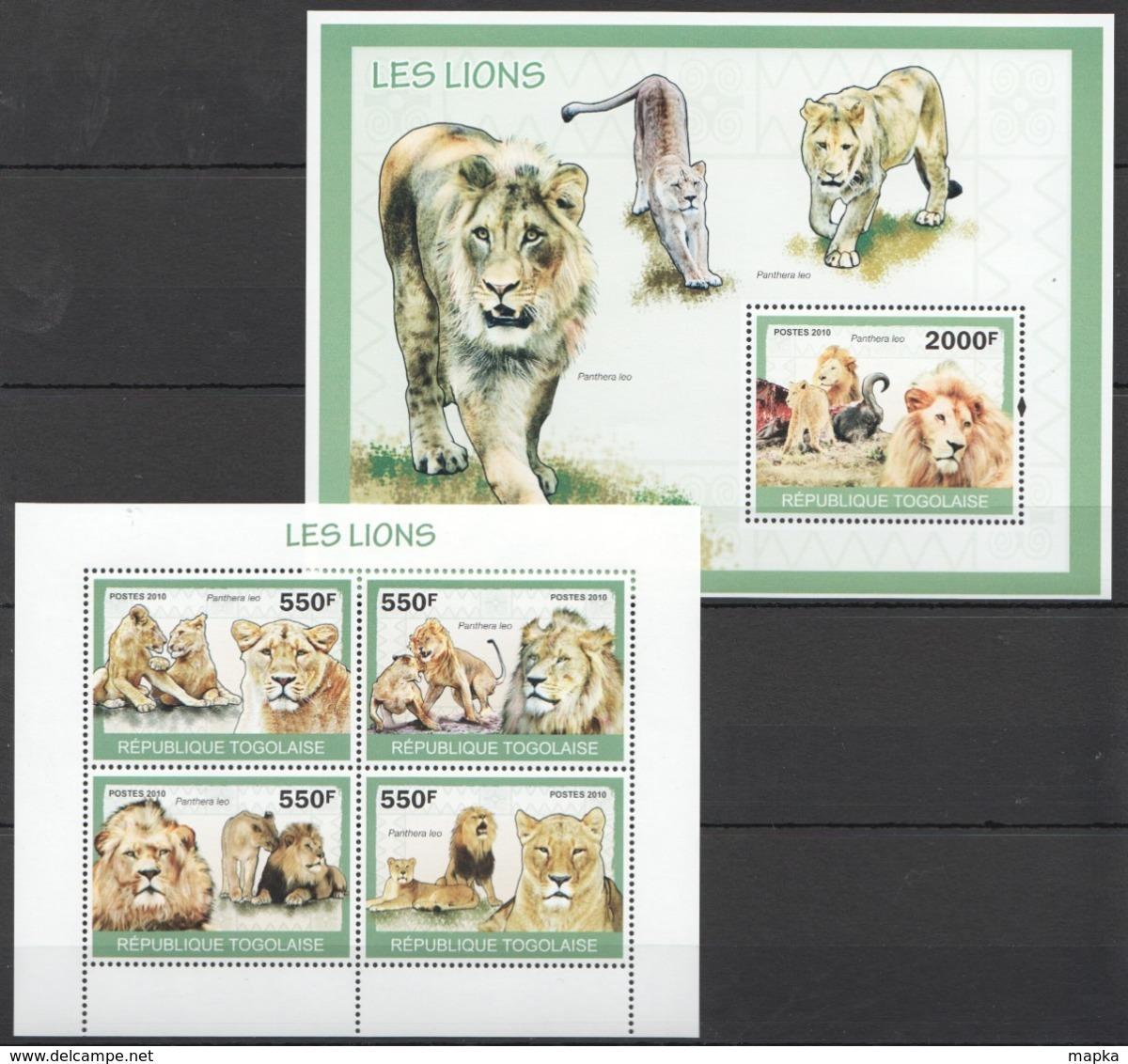TG1287 2010 TOGO TOGOLAISE FAUNA ANIMALS LES LIONS 1KB+1BL MNH - Felini
