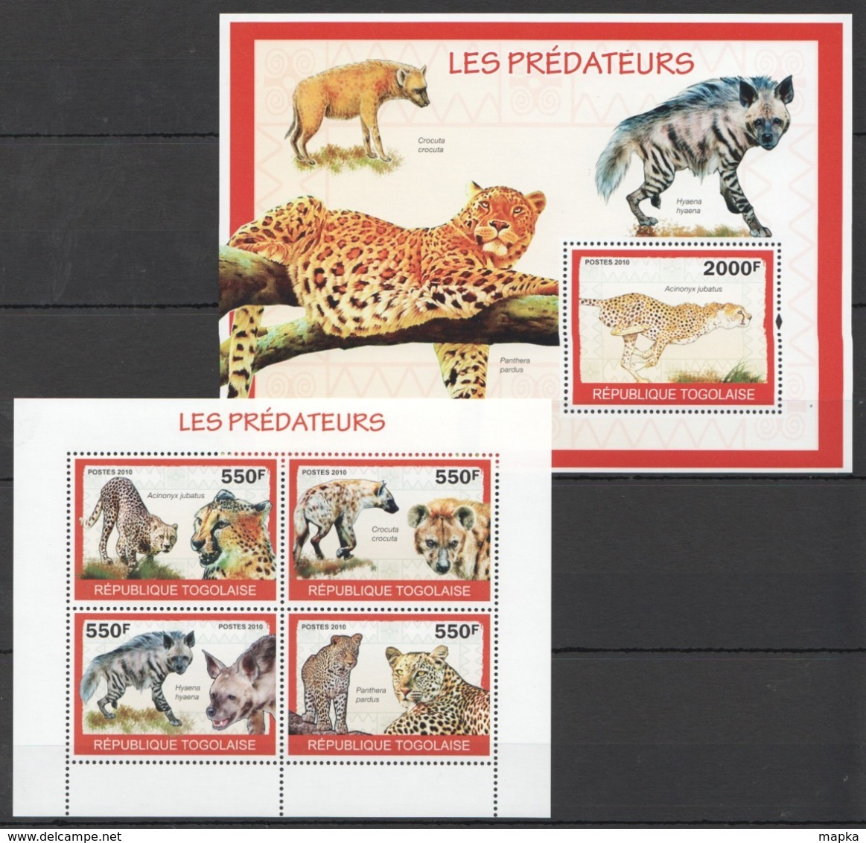 TG1289 2010 TOGO TOGOLAISE FAUNA ANIMALS LES PREDATEURS 1KB+1BL MNH - Felini