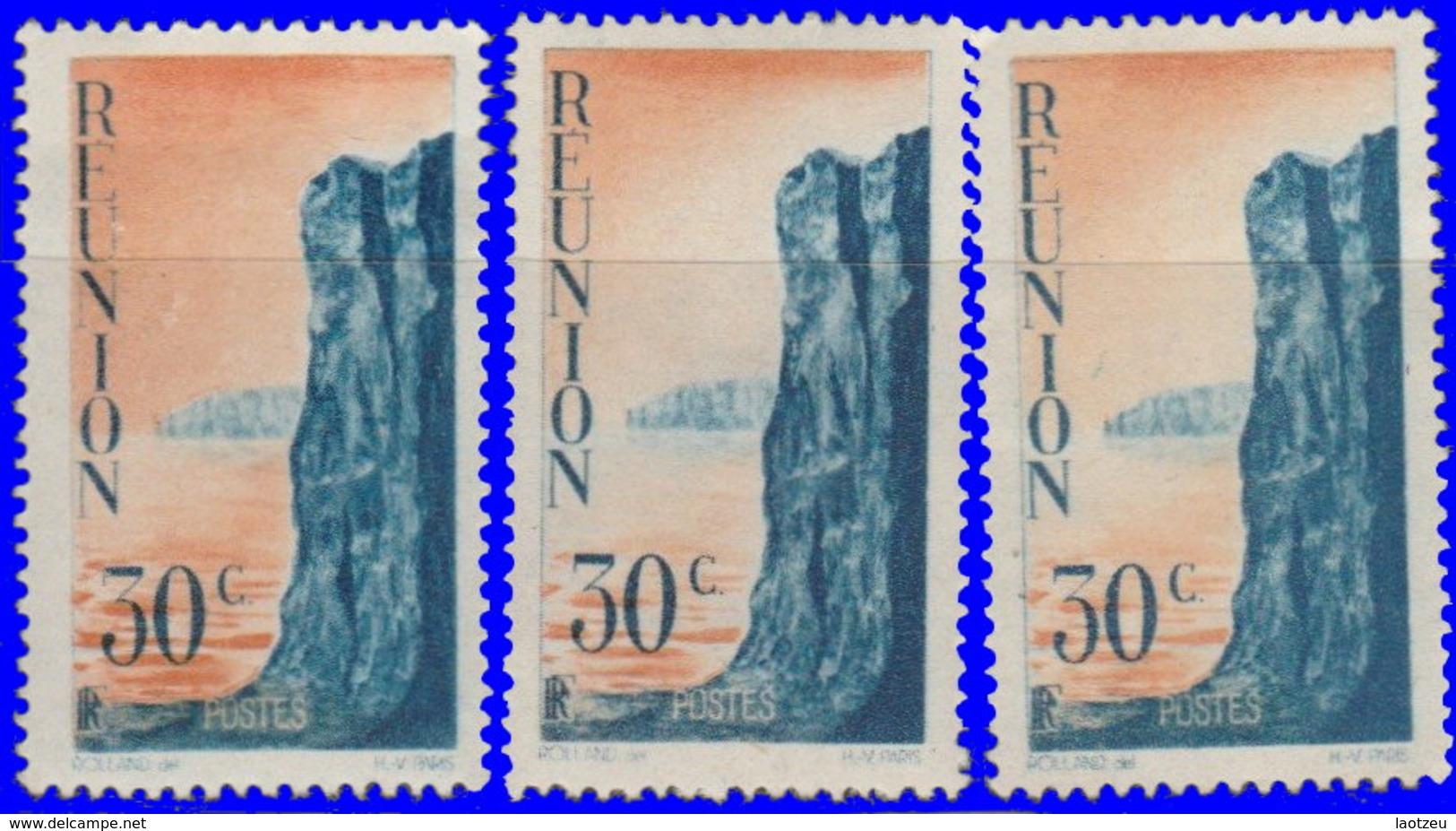 Réunion 1947. ~  YT 263* Par 3 - 30 C. Cliff - Isola Di Rèunion (1852-1975)