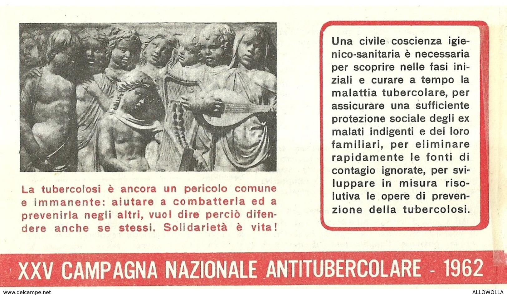 """6062 """" ERINNOFILI-XXV CAMPAGNA NAZIONALE ANTITUBERCOLARE-1962-LIBRETTO DI 10 FRANCOBOLLI"""" - Erinnofilia"""