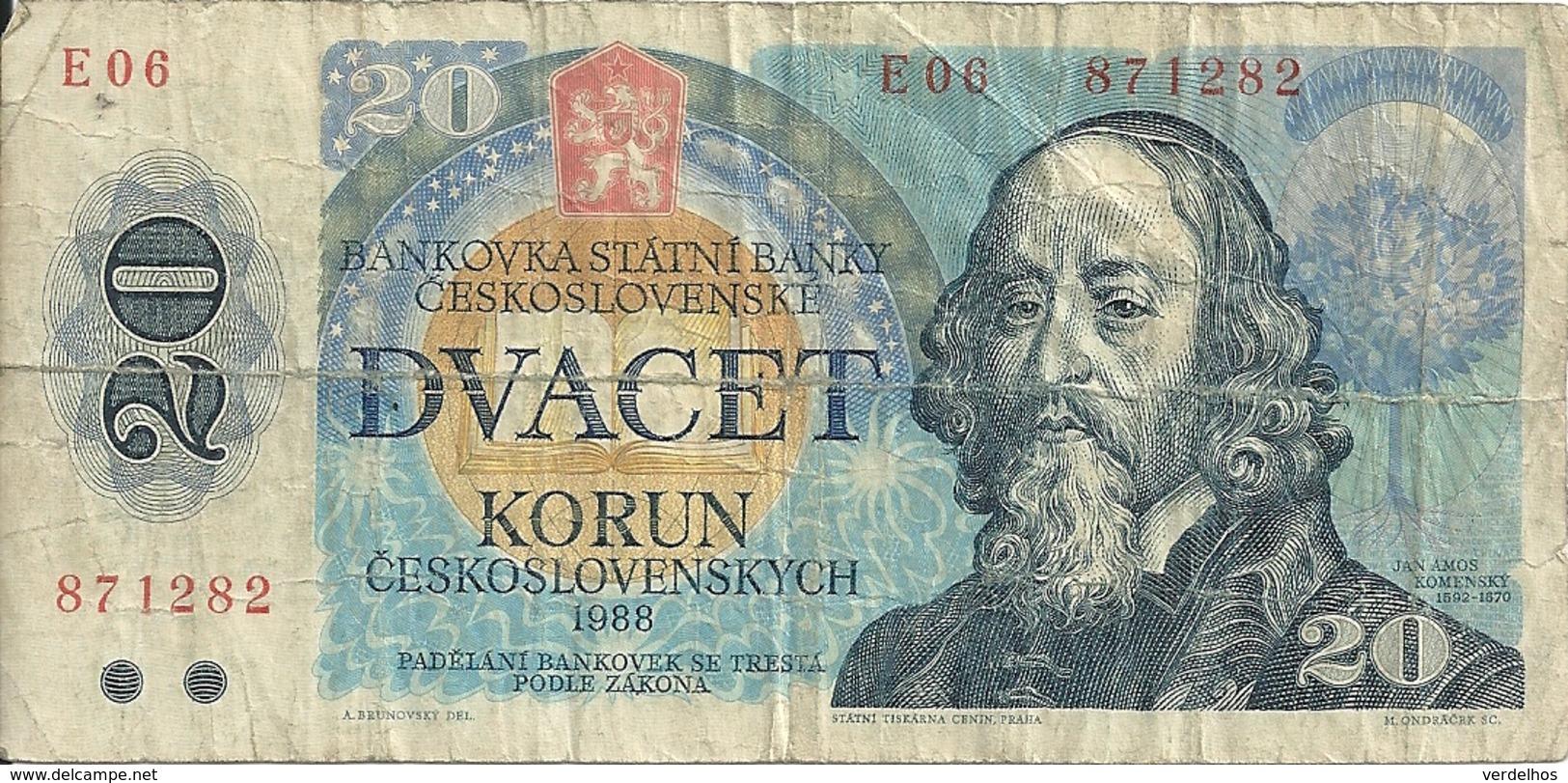 TCHECOSLOVAQUIE 20 KORUN 1988 VG+ P 95 - Cecoslovacchia