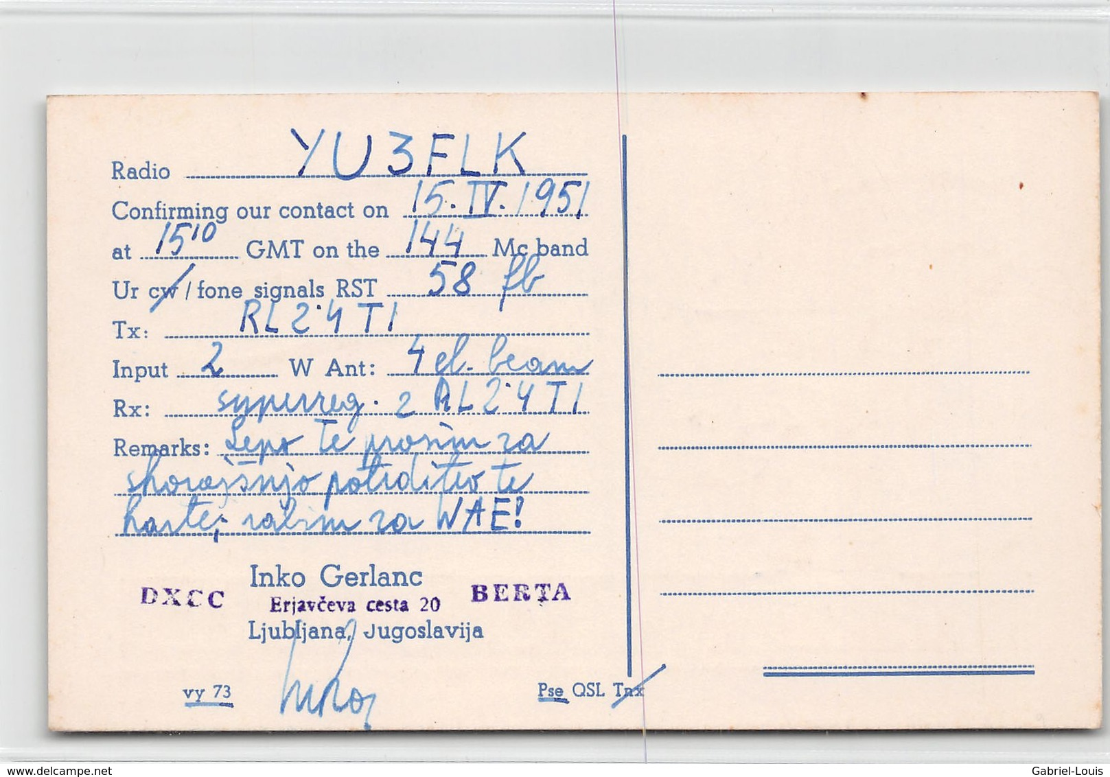 QSL Cards - Yu 3 AC - YU3AC - Yugoslavia - Inko Gerlanc Berta Ljubljana - Sloveija - 1951 - Radio Amatoriale