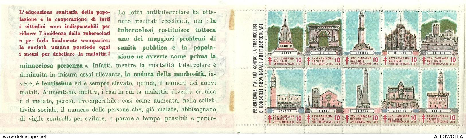 """6063 """" ERINNOFILI-XXVI CAMPAGNA NAZIONALE ANTITUBERCOLARE-1963-PRIMA SERIE-LIBRETTO DI 10 FRANCOBOLLI"""" - Erinnofilia"""