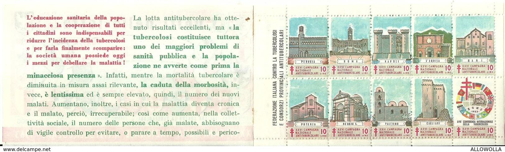 """6064 """" ERINNOFILI-XXVI CAMPAGNA NAZIONALE ANTITUBERCOLARE-1963-SECONDA SERIE-LIBRETTO DI 10 FRANCOBOLLI"""" - Erinnofilia"""