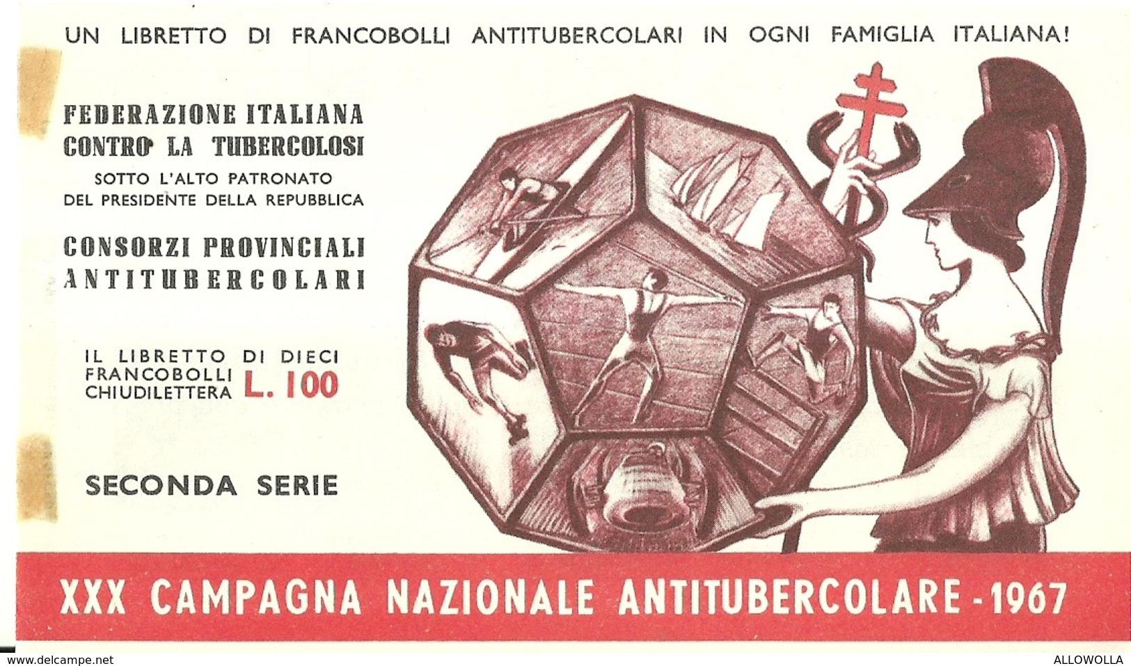 """6068 """" ERINNOFILI-XXX CAMPAGNA NAZIONALE ANTITUBERCOLARE-1967-SECONDA SERIE-LIBRETTO DI 10 FRANCOBOLLI"""" - Erinnofilia"""