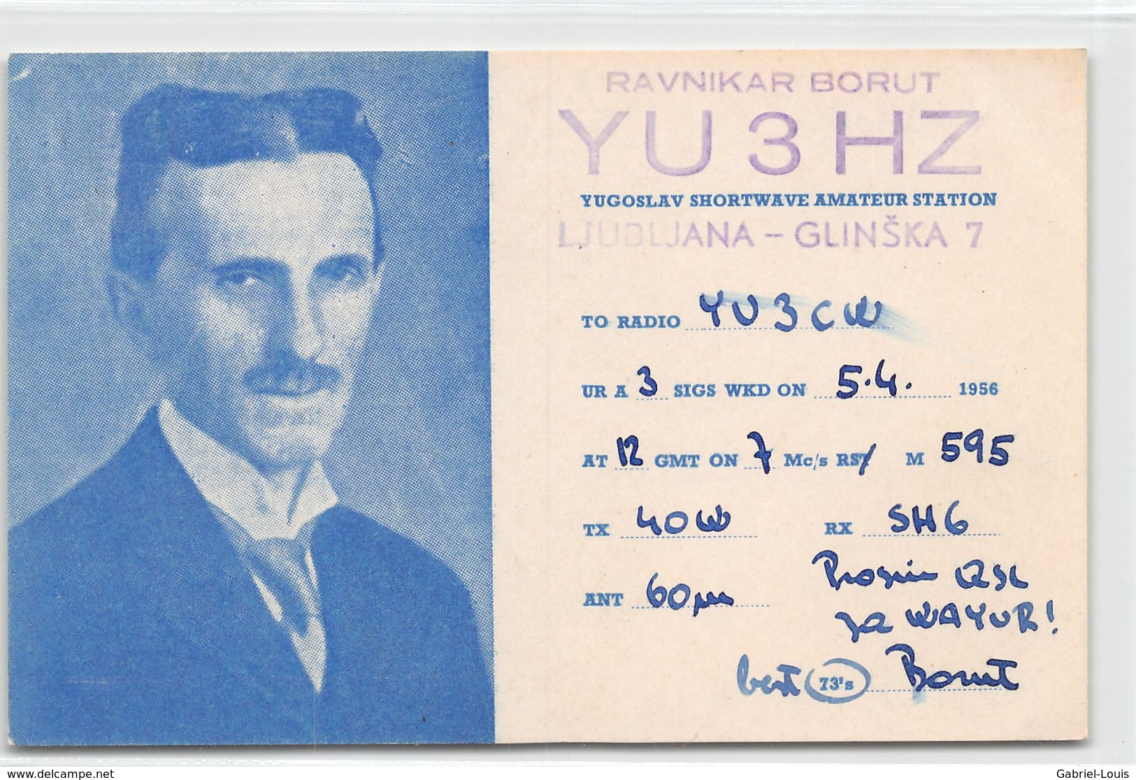 QSL Cards - YU3HZ- YU 3 HZ - Yugoslavia  - Ljubljana -  Slovenija  - Ravnikar Borut - 1956 - Radio Amatoriale