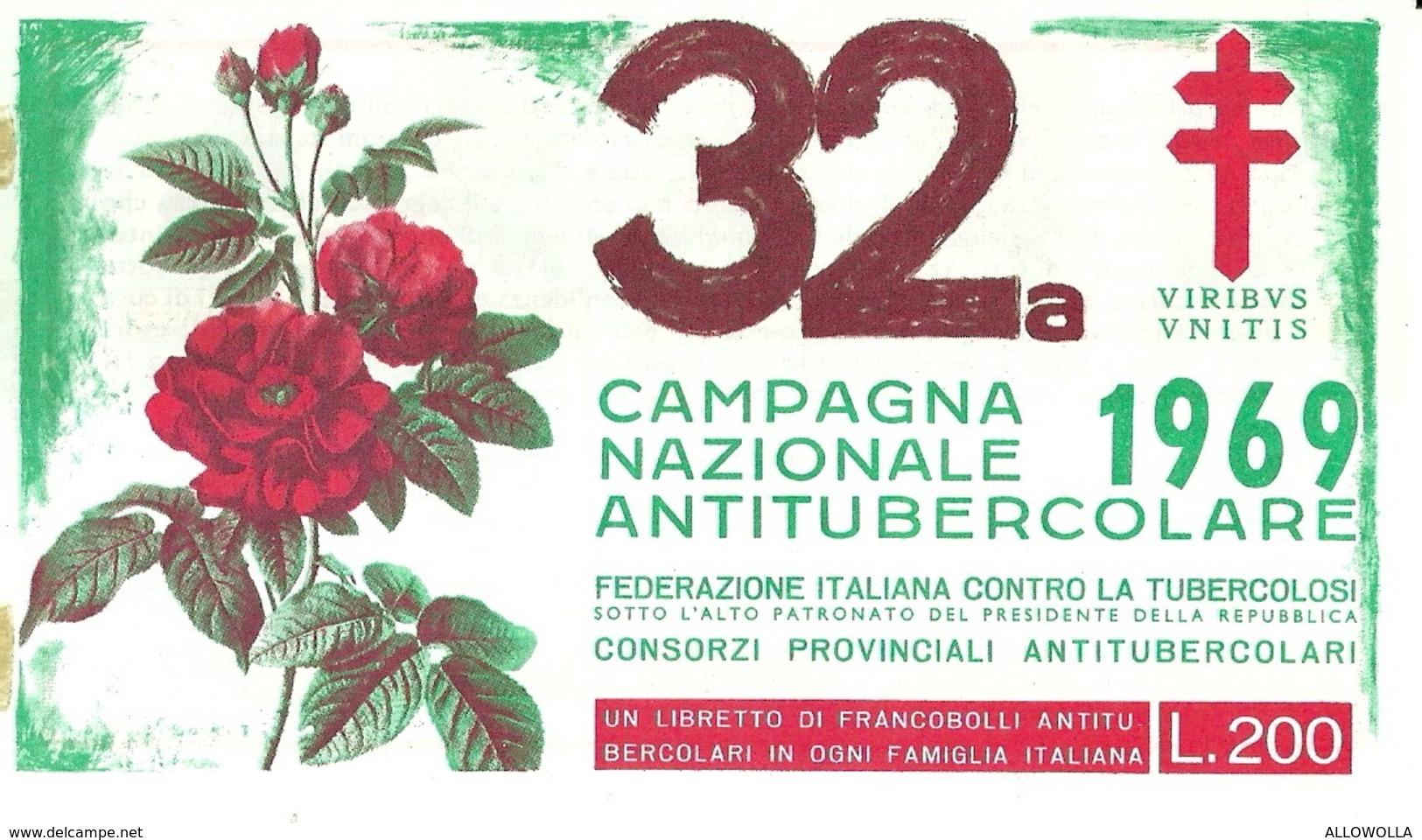 """6070 """" ERINNOFILI-32a CAMPAGNA NAZIONALE ANTITUBERCOLARE-1969-LIBRETTO DI 10 FRANCOBOLLI"""" - Erinnofilia"""