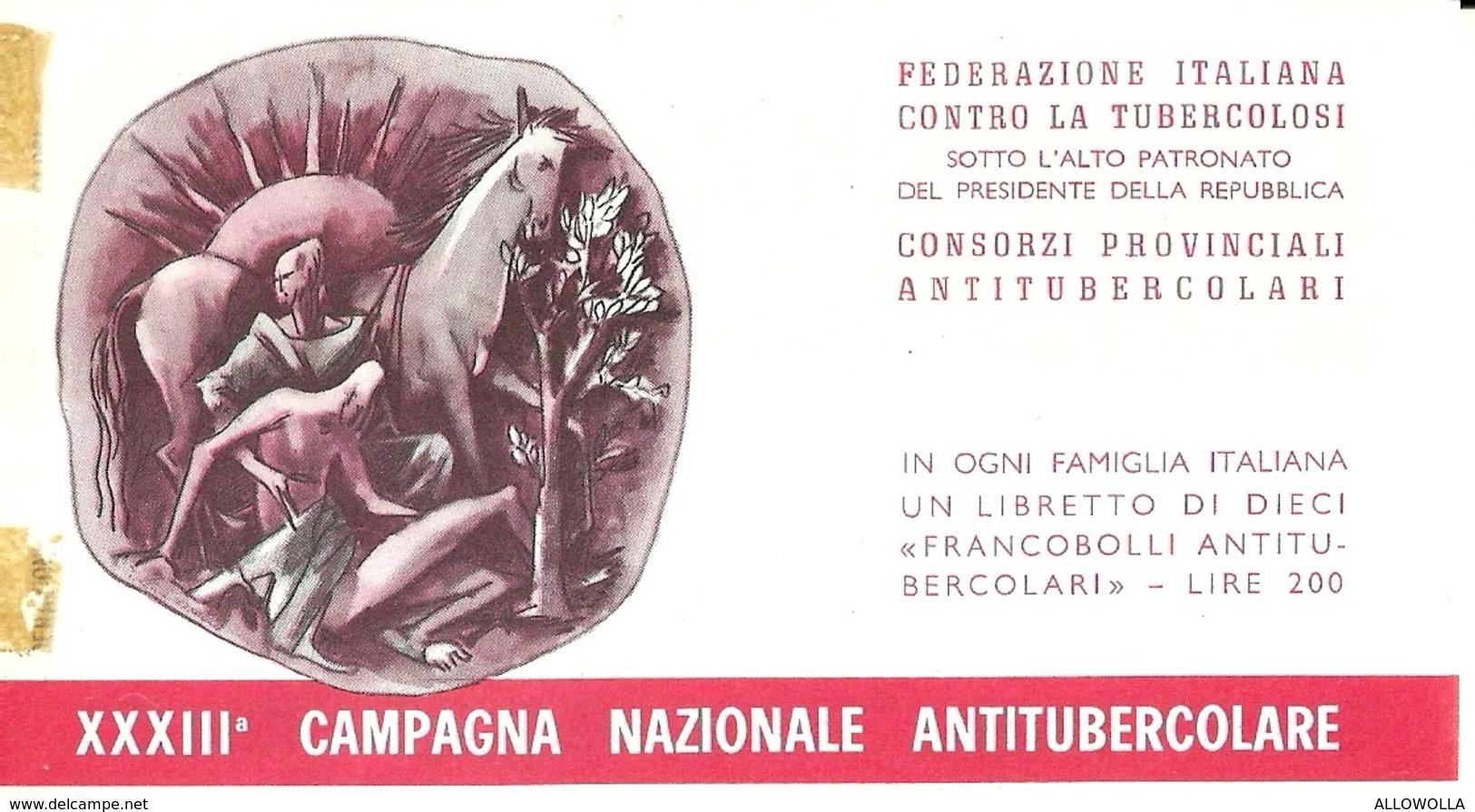 """6071 """" ERINNOFILI-XXXIII CAMPAGNA NAZIONALE ANTITUBERCOLARE-1970-LIBRETTO DI 10 FRANCOBOLLI"""" - Erinnofilia"""