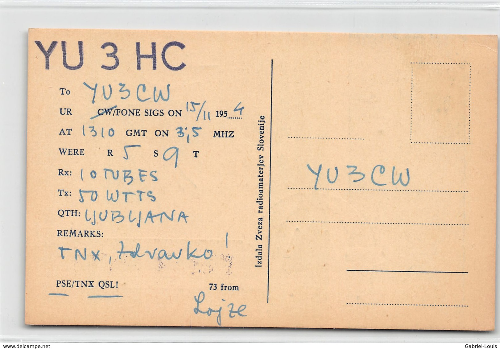 QSL Cards - YU3HC- YU 3 HC - Yugoslavia  - Slovenija - - Radio-amateur