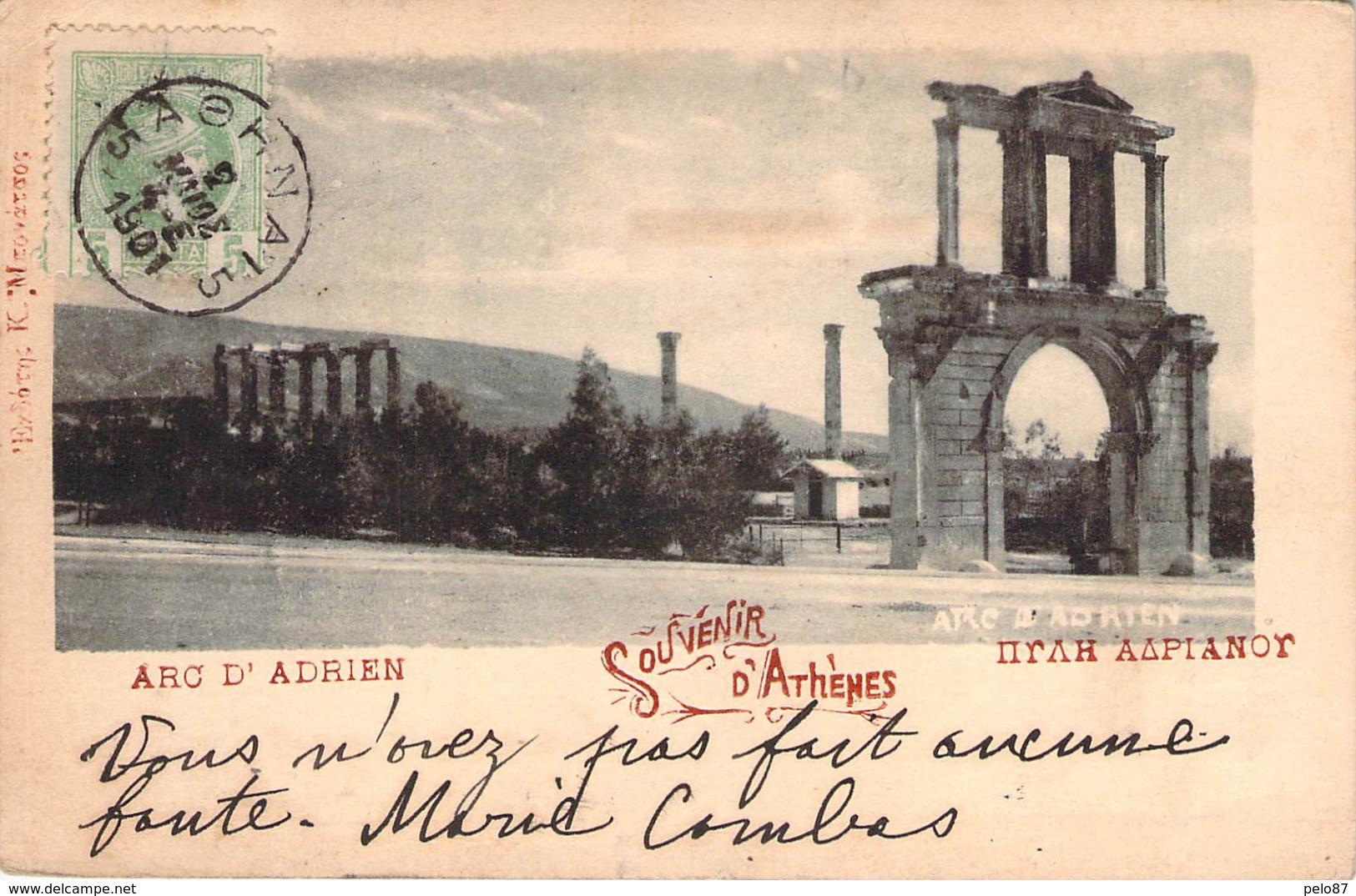 (RARE) CPA  Grèce Souvenir D'Athènes Arc D'Adrien  (précurseur)  M1522 - Grèce