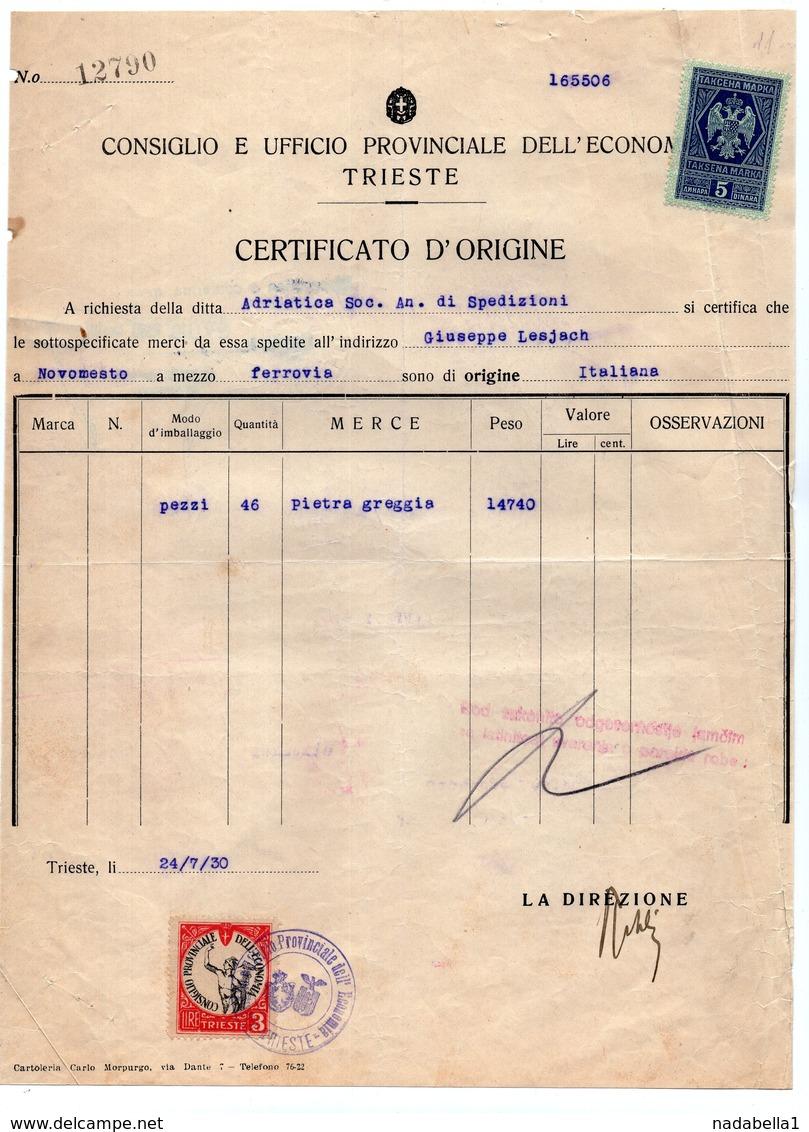 1930 ITALY, TRIESTE, CERTIFICATE OF ORIGIN, GRAY STONE TRANSPORT, TO NOVO MESTO, SLOVENIA, 2 REVENUE STAMP - Italy