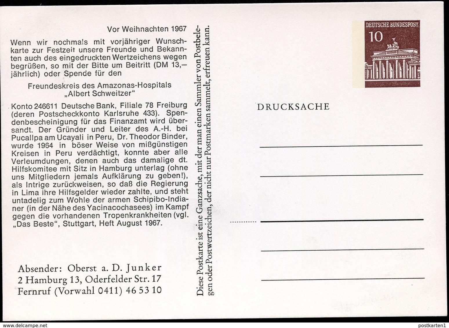 Bund PP42 C2/003 ALBERT SCHWEITZER HOSPITAL 1967  NGK 5,00 € - BRD