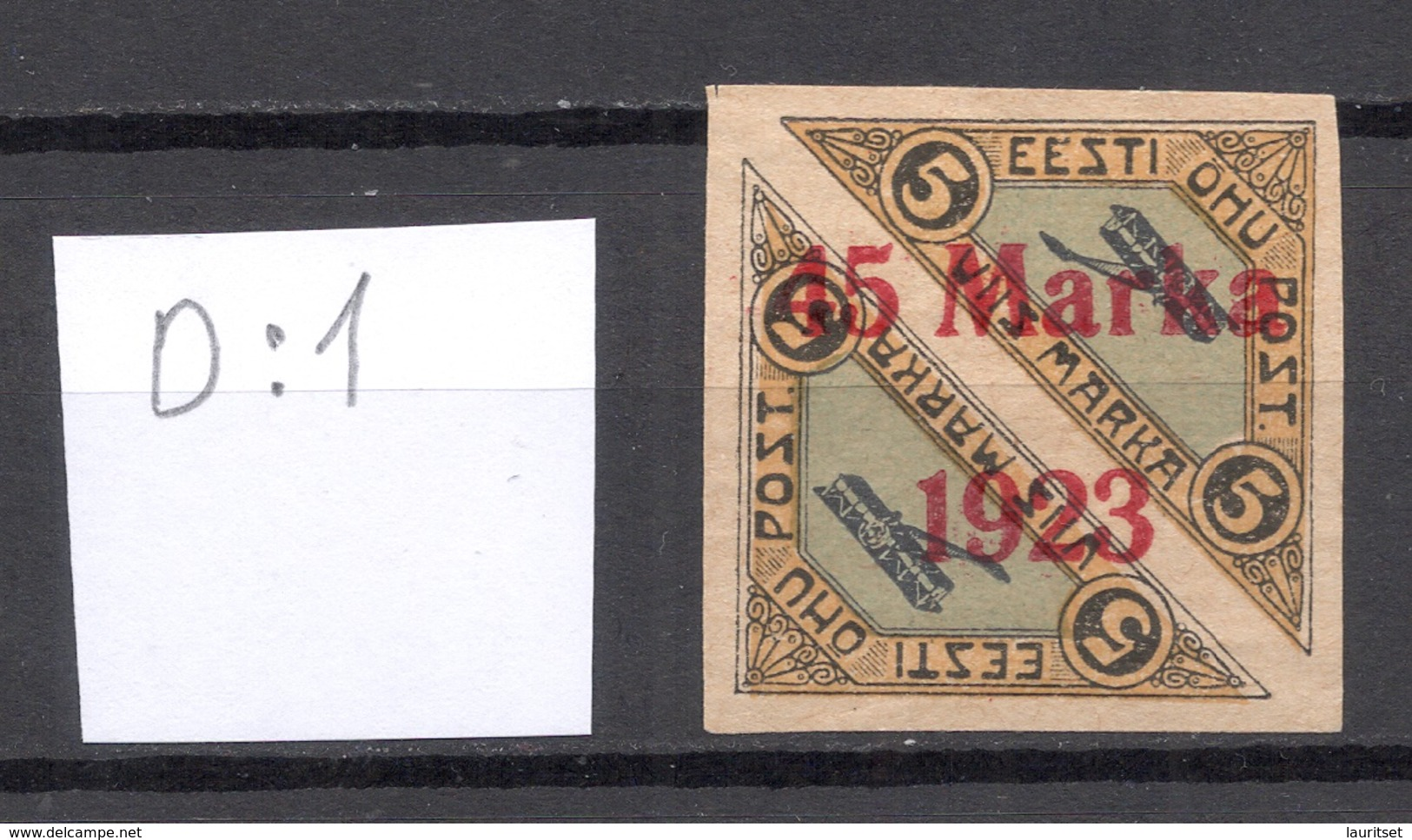 ESTLAND ESTONIA 1923 Michel 45 B II D: 1 (PATCHY Gum/Spargummi) Variety Abart * RRR - Estland