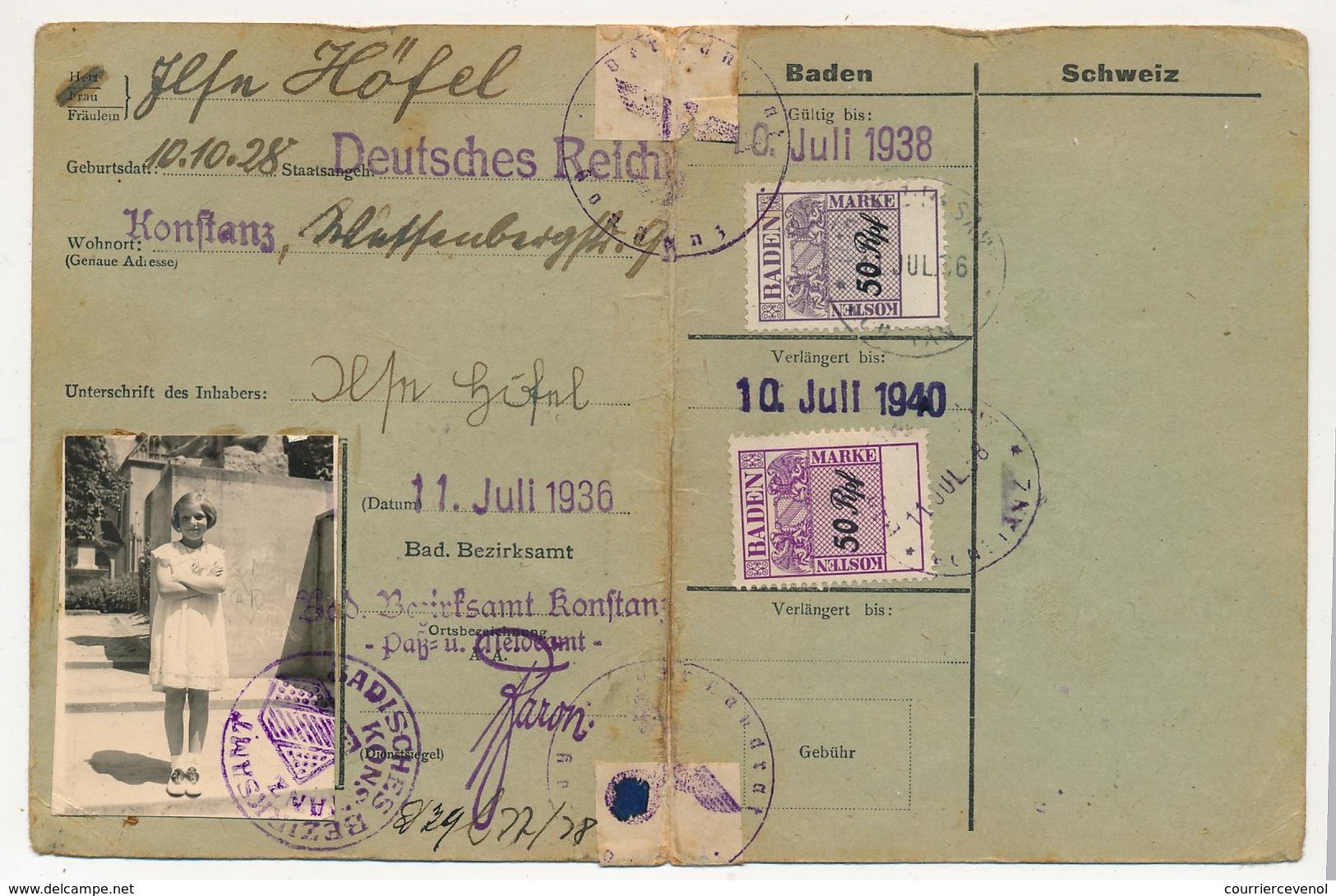 SUISSE / BADE - Dauerbewillingung (Autorisation Permanente) Passage Frontière Konstanz => Suisse - Fiscaux - Documents Historiques