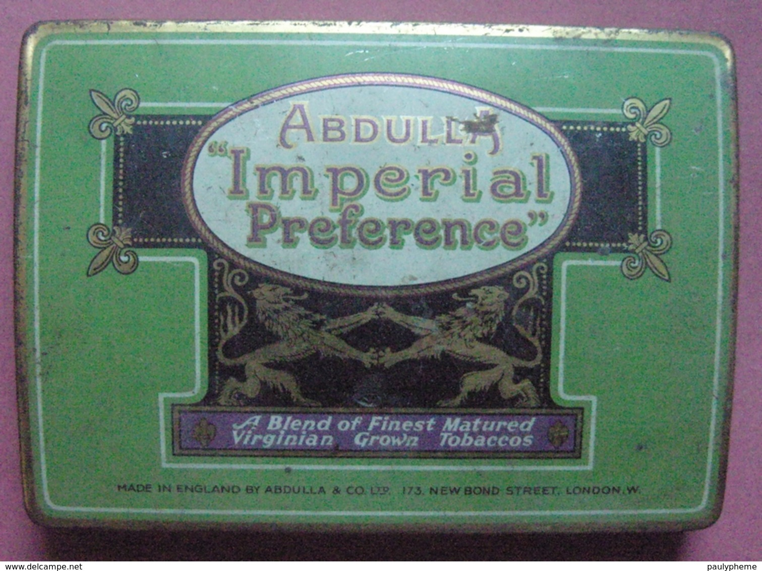 Londres ABDULLA Imperial Preference Boite Convexe Pour 50 Cigarettes Tin Box Case London Abdulla & Co Ltd - Contenitori Di Tabacco (vuoti)