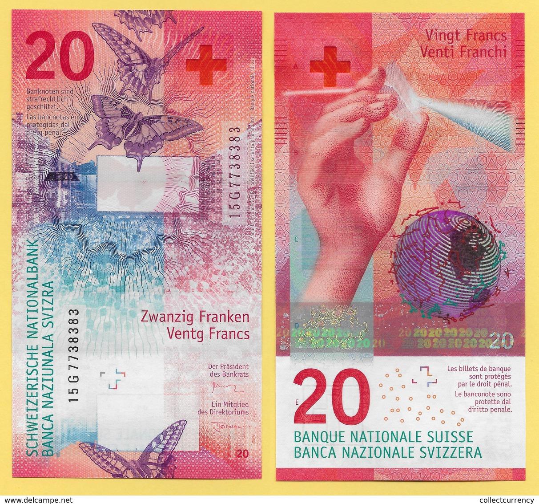 Switzerland  20 Franken P-76c 2015(2017) Sign. Studer & Jordan UNC Banknote - Suiza