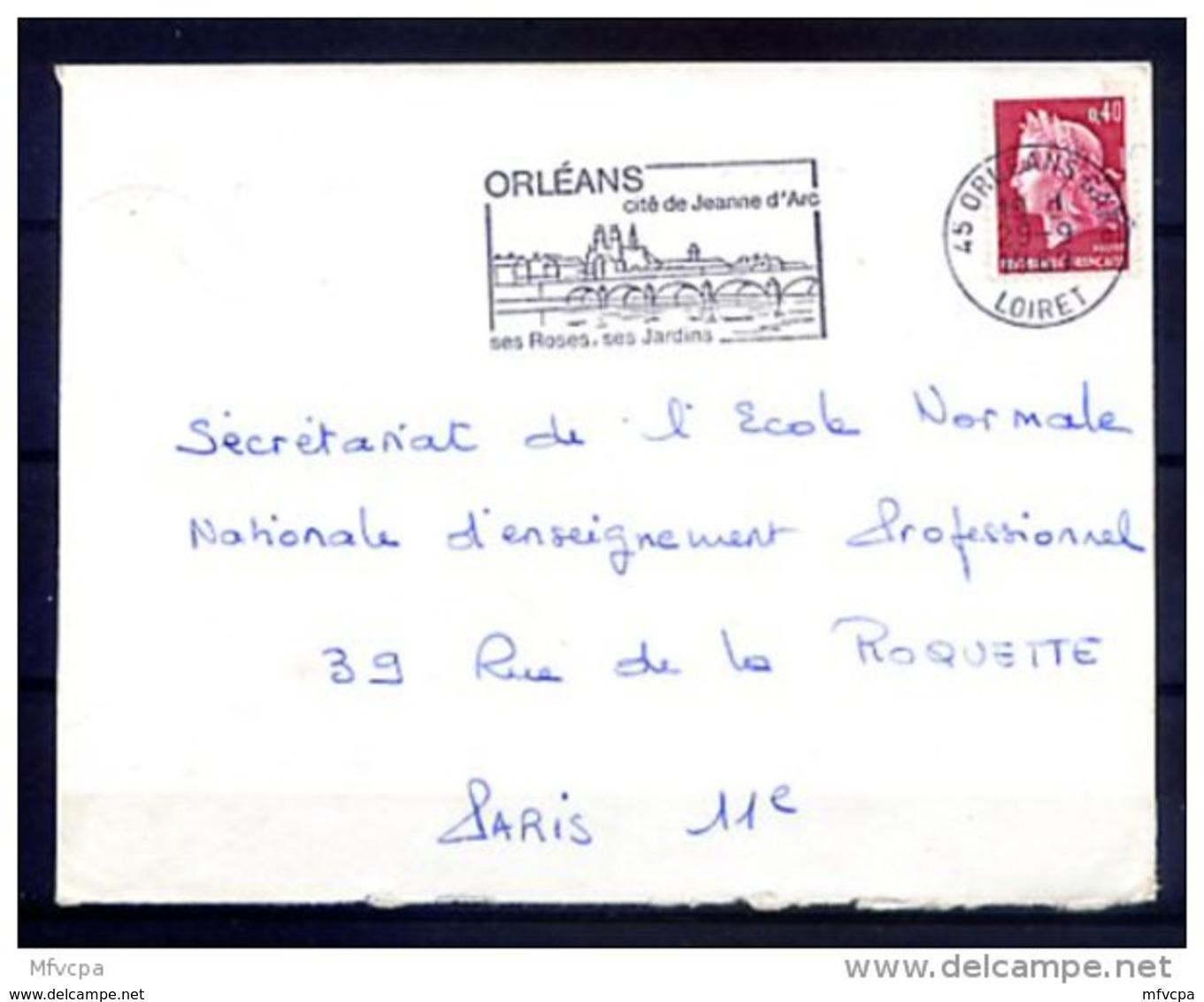 Ar3288 LOIRET SECAP Orléans Cité De Jeanne D'Arc.../ Lettre 45 Orléans Gare 29-09-1969 - Storia Postale