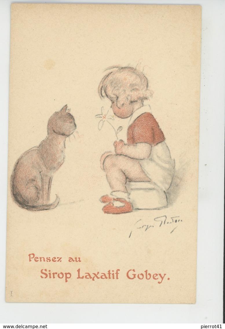ENFANTS - CAT - Jolie Carte Fantaisie Fillette Avec Pot De Chambre Chat - Pub Pour SIROP LAXATIF GOBEY - Signée G. REDON - Dessins D'enfants