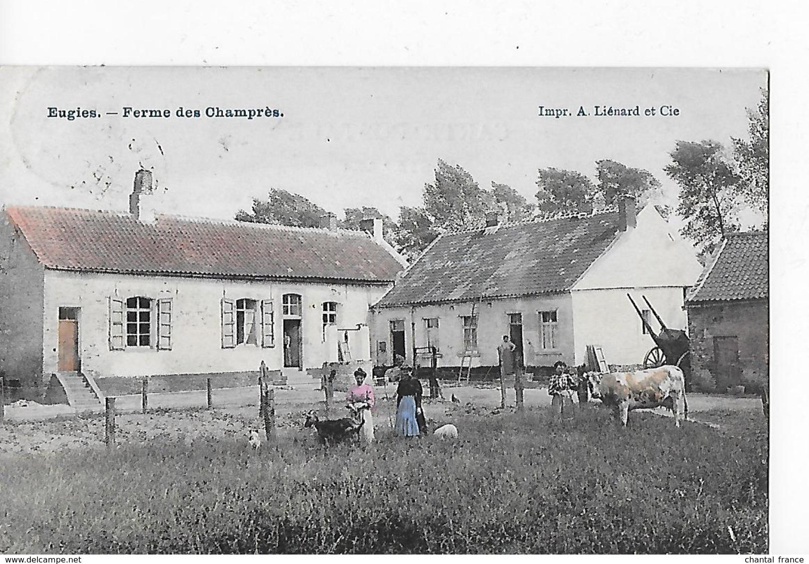 1 Cpa Eugies/Frameries : Ferme Champrès : Animation, Vache, Chèvre, . Carte Colorisée - Frameries