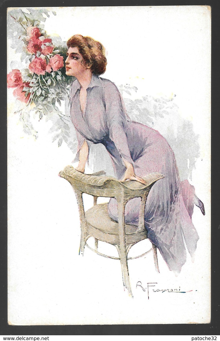 Cpa...illustrateur Italien...Franzoni R...art Nouveau / Art Déco...femme élégante , Fleurs.... - Künstlerkarten