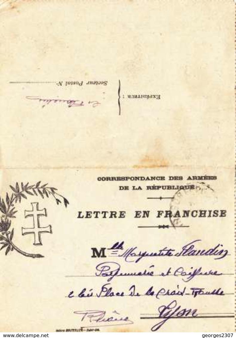 ♦ -  CARTE LETTRE EN FRANCHISE MILITAIRE -CORRESPONDANCE. DES ARMÉES - CACHET TRÉSOR ET POSTES-21/01/1918 - Militaria