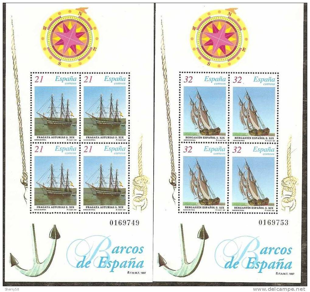 1997-ED. 3477 A 3478 H.B.- BARCOS -NUEVO- - Blocs & Hojas