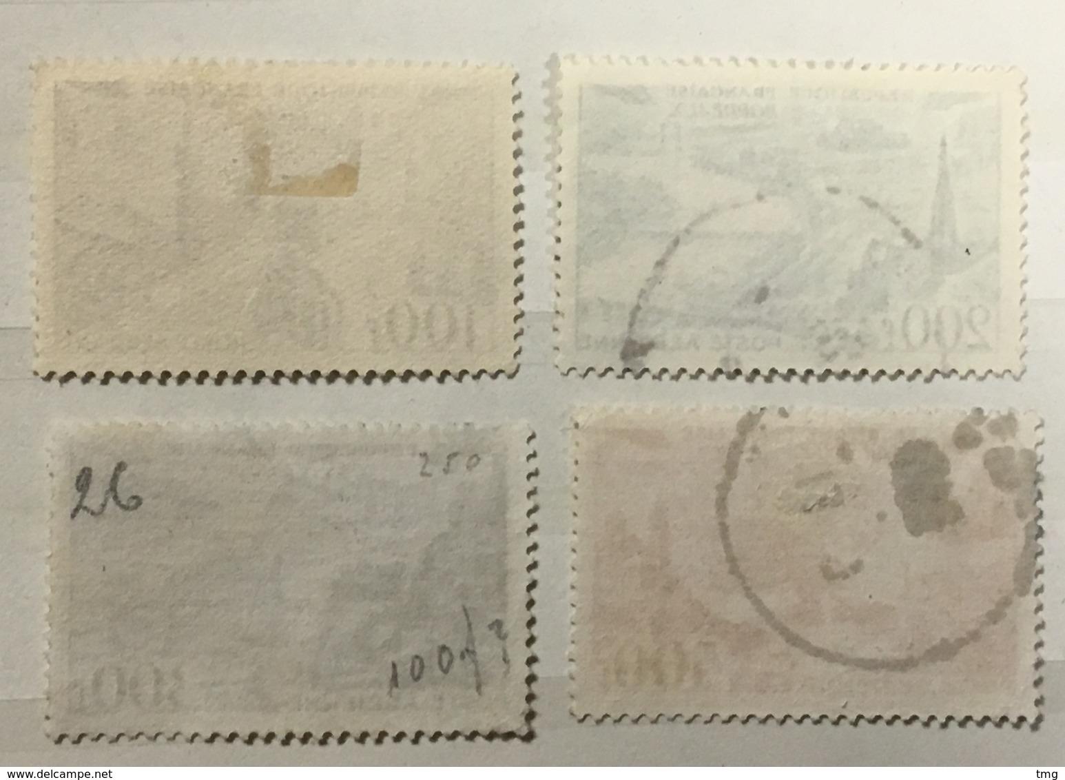 Timbre France Poste Aérienne YT PA 24 25 26 27 (°) 1949 Lille Bordeaux Lyon Marseille (côte 21,5 Euros) – 316b - Luftpost