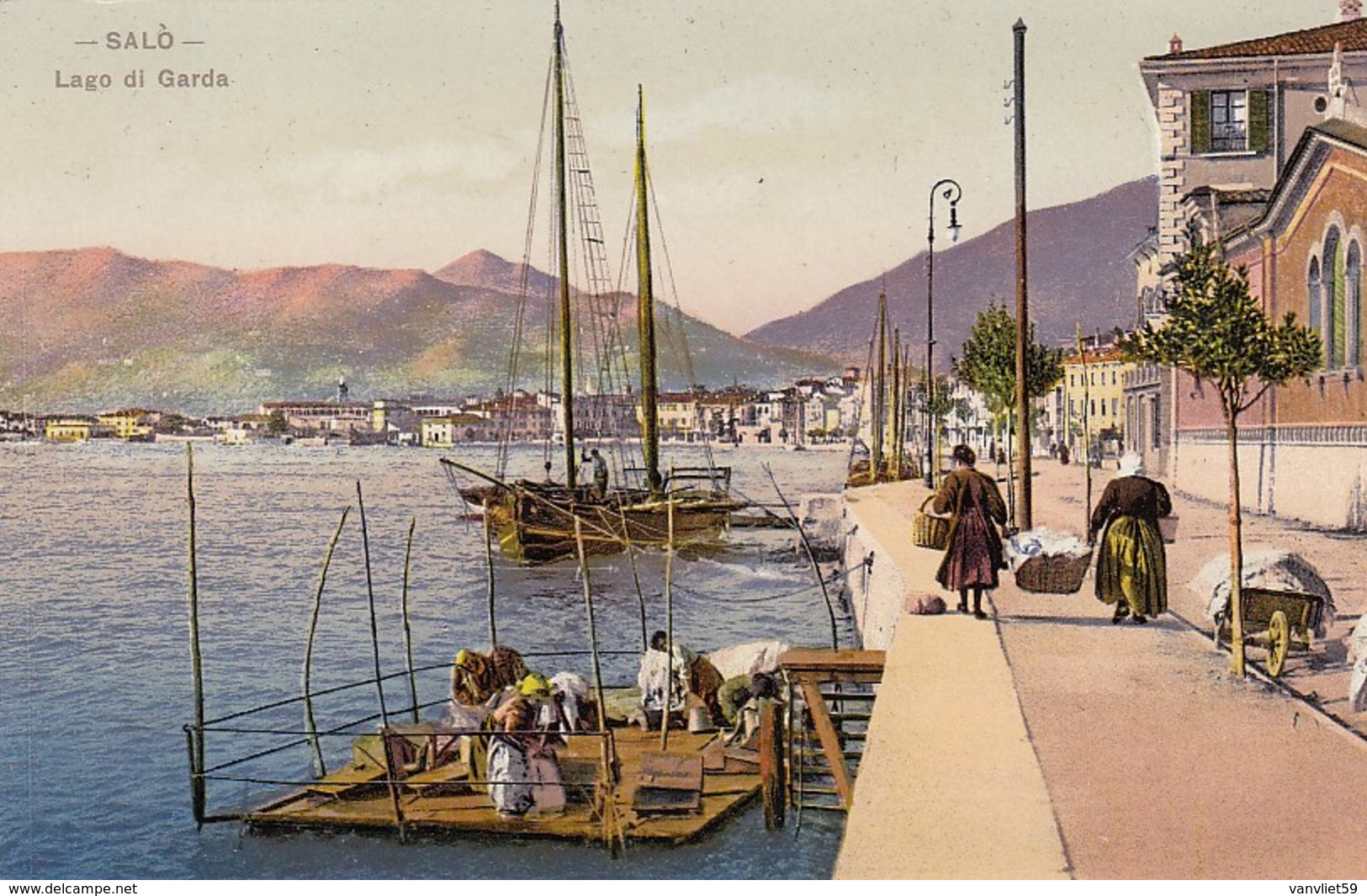 SALò-BRESCIA-LAGO DI GARDA-LAVANDAIE-CARTOLINA NON VIAGGIATA-ANNO 1930-1935 - Brescia
